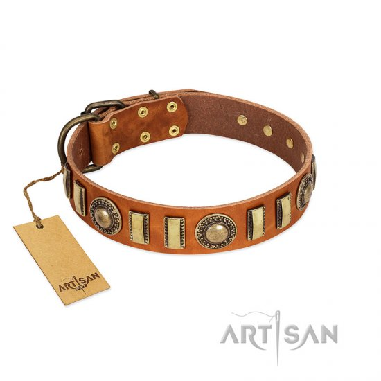 """Happy Hound"" FDT Artisan Tan Leather German Shepherd Collar with Elegant Decorations"