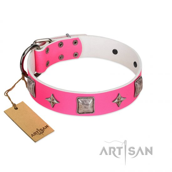 """Star World"" Gorgeous FDT Artisan Pink Leather German Shepherd Collar with Silver-Like Adornments"