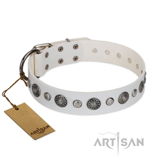 """Fluff-Stuff Beauty"" FDT Artisan White Leather German Shepherd Collar with Silver-like Studs and Conchos"