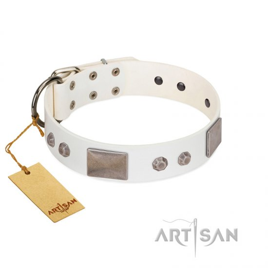 """Northen Lights"" FDT Artisan White Leather German Shepherd Collar with Massive Plates and Pyramids"