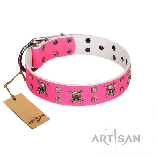 """Rosy Jack"" Modern Handmade FDT Artisan Pink Leather German Shepherd Collar"