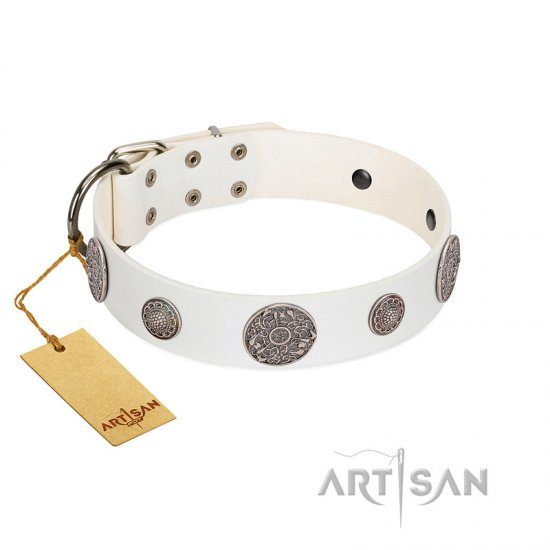 """Divine Nature"" FDT Artisan White Leather German Shepherd Collar with Chrome Plated Brooches"