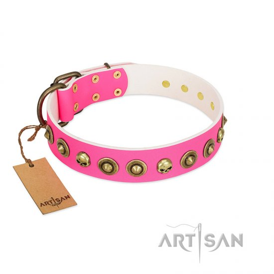 """Pawty Time"" FDT Artisan Pink Leather German Shepherd Collar with Decorative Skulls and Brooches"