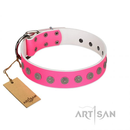 """Pop Star"" Handcrafted FDT Artisan Pink Leather German Shepherd Collar with Round Plates"