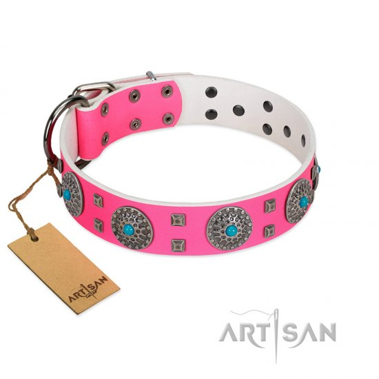 """Pink Delight"" FDT Artisan Pink Leather German Shepherd Collar for Everyday Walking"