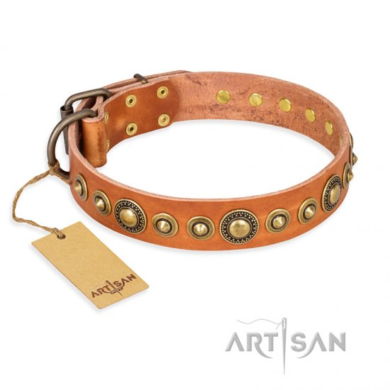 """Feast of Luxury"" FDT Artisan Tan Leather German Shepherd Collar with Old Bronze Look Circles"