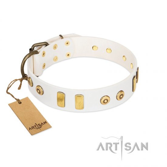 """Golden Union"" Elegant FDT Artisan White Leather German Shepherd Collar with Old Bronze-like Dotted Studs and Tiles"