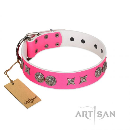 """Striking Fashion"" Handmade FDT Artisan Designer Pink Leather German Shepherd Collar with Shields and Stars"