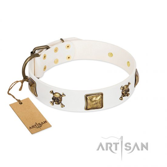"""Glo Up"" FDT Artisan White Leather German Shepherd Collar with Skulls and Crossbones Combined with Squares"