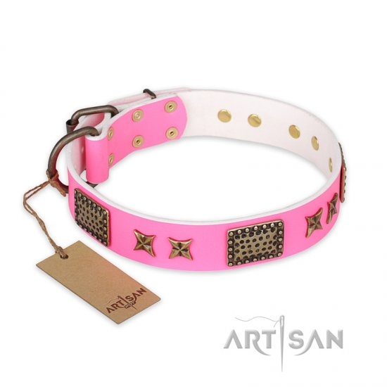 """Tender Pink"" FDT Artisan Leather German Shepherd Collar with Old Bronze Look Stars and Plates"