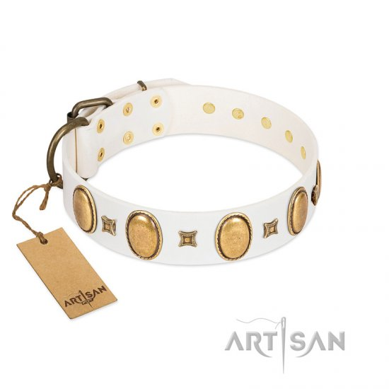 """Chichi Pearl"" Designer Handmade FDT Artisan White Leather German Shepherd Collar with Ovals and Studs"