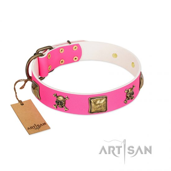 """Wild and Free"" FDT Artisan Pink Leather German Shepherd Collar with Skulls and Crossbones Combined with Squares"
