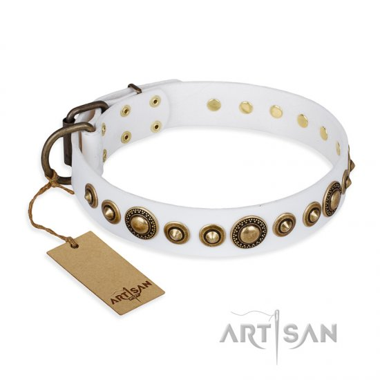 """Swirl of Fashion"" FDT Artisan Delicate White Leather German Shepherd Collar with Stunning Bronze-Plated Round Studs"