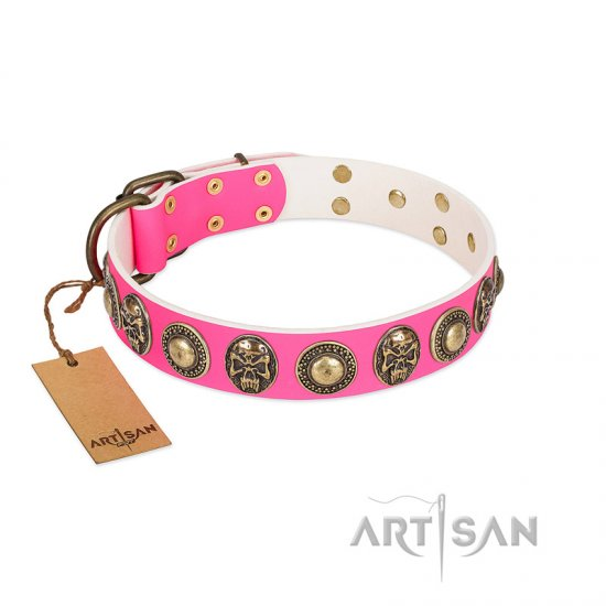 """Two Extremes"" FDT Artisan Pink Leather German Shepherd Collar with Elegant Conchos and Medallions with Skulls"