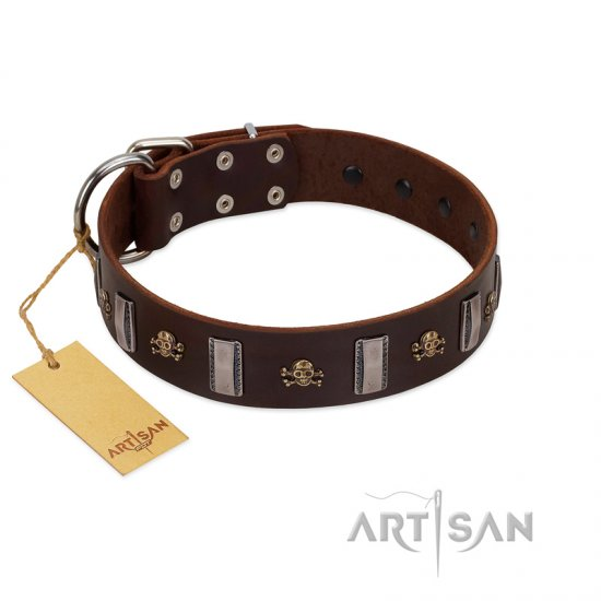 """War Chief"" FDT Artisan Genuine Brown Leather German Shepherd Collar with Skulls and Plates"