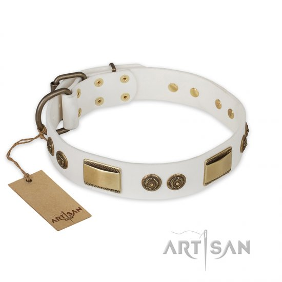 """Golden Avalanche"" FDT Artisan White Leather German Shepherd Collar with Old Bronze Look Plates and Circles"