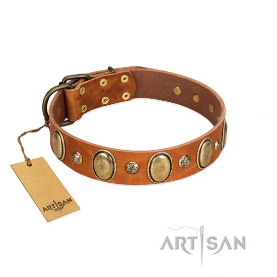 """Venus Breath"" FDT Artisan Tan Leather German Shepherd Collar with Vintage Looking Oval and Round Studs - Click Image to Close"
