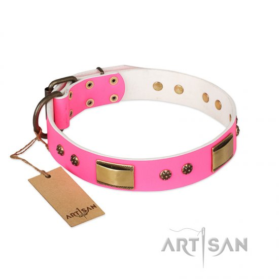 """Pink Daydream"" FDT Artisan Pink Leather German Shepherd Collar with Old Bronze Look Plates and Studs"