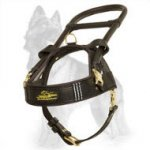 Guide and Assistance Leather German Shepherd Harness with Long Handle