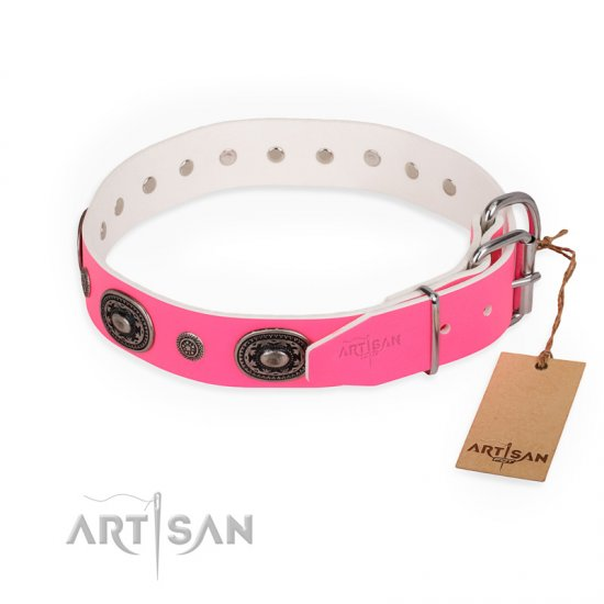 """Flavor of Strawberry"" FDT Artisan Flashy Pink Leather German Shepherd Collar - Click Image to Close"