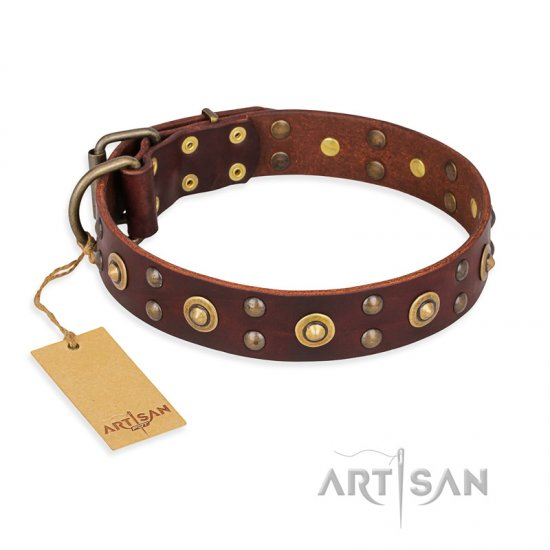 """Caprice of Fashion"" FDT Artisan Brown Leather German Shepherd Collar with Round Decorations"