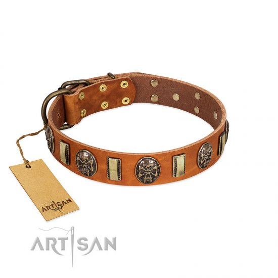 """Strike of Rock"" FDT Artisan Tan Leather German Shepherd Collar with Plates and Medallions with Skulls"