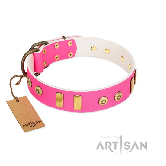 """Prim'N'Proper"" Handmade FDT Artisan Pink Leather German Shepherd Collar with Old Bronze-like Dotted Studs and Tiles"
