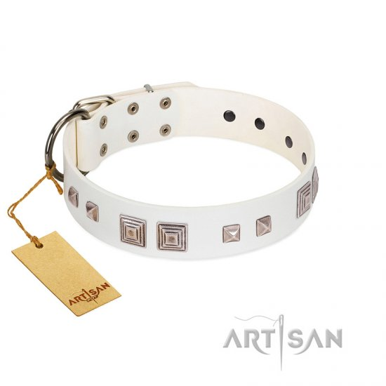 """Pure Quadratic"" Designer Handmade FDT Artisan White Leather German Shepherd Collar"