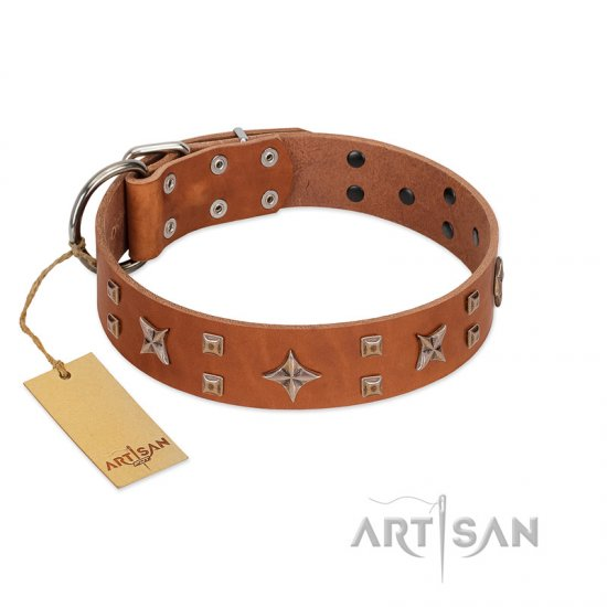 """Dreamy Gleam"" FDT Artisan Tan Leather German Shepherd Collar Adorned with Stars and Squares"