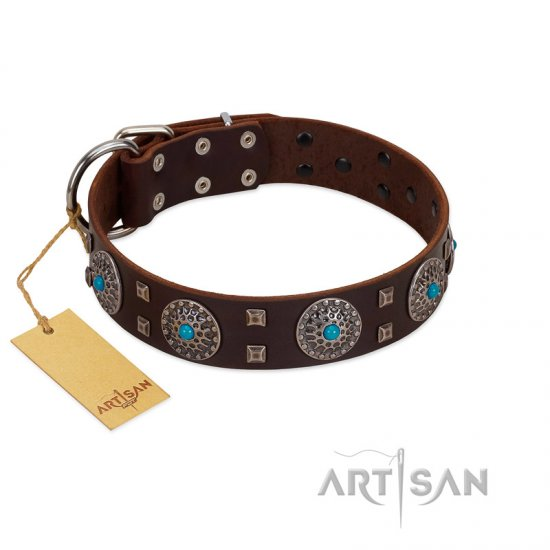 """Hypnotic Stones"" FDT Artisan Brown Leather German Shepherd Collar with Chrome Plated Brooches and Square Studs"