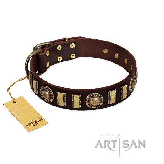 """City Call"" FDT Artisan Adorned with Old Bronze-like Plates and Circles Brown Leather Dog Collar 1 1/2 inch (40 mm) Wide"