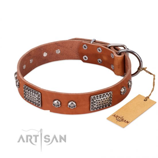 """Sparkling Skull"" FDT Artisan Tan Leather German Shepherd Collar with Old Silver Look Plates and Skulls"