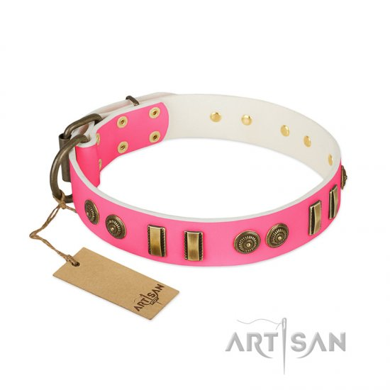 """Pink Amulet"" FDT Artisan Leather German Shepherd Collar with Old Bronze-like Plates and Circles"