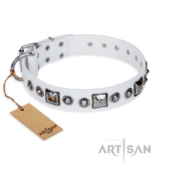 """Lustre of Fame"" FDT Artisan White Studded Leather German Shepherd Collar"