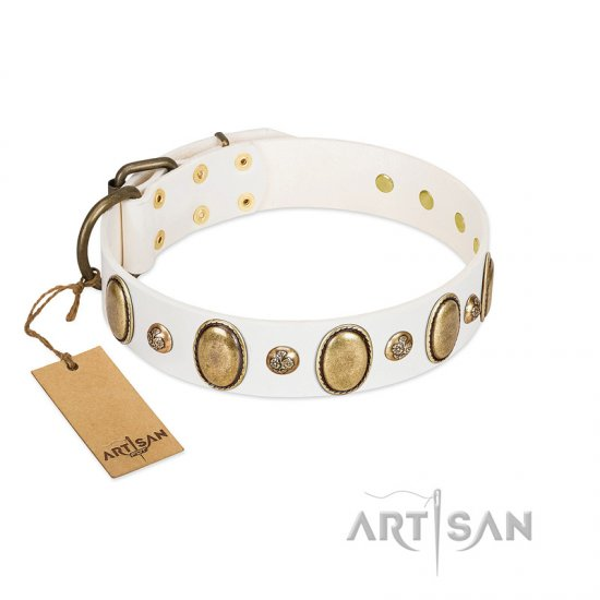 """Milky Lagoon"" FDT Artisan White Leather German Shepherd Collar with Vintage Looking Oval and Round Adornments"