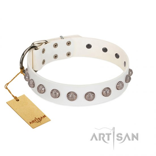 """Grandeur Dog"" FDT Artisan White Leather German Shepherd Collar with Engraved Studs"