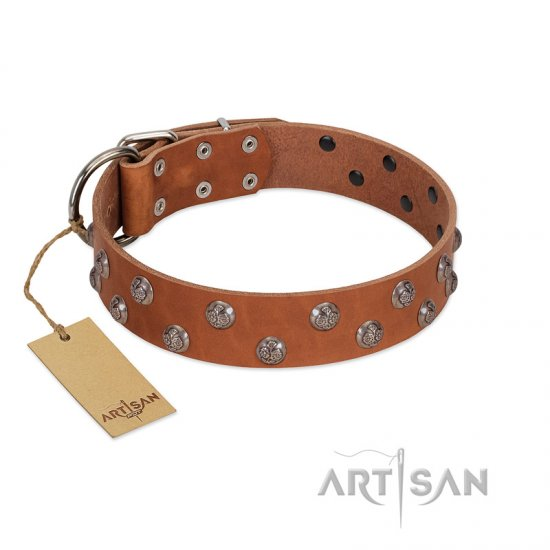 """Waltz of the Flowers"" Handmade FDT Artisan Tan Leather German Shepherd Collar with Chrome-plated Engraved Studs"