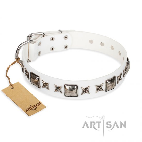 """Intergalactic Travelling"" FDT Artisan Handcrafted White Leather German Shepherd Collar"