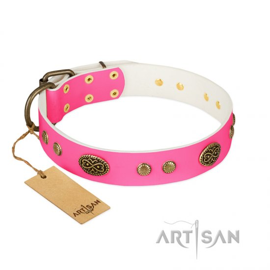 """Twinkle Pink"" FDT Artisan Pink Leather German Shepherd Collar with Old Bronze Look Plates and Circles"