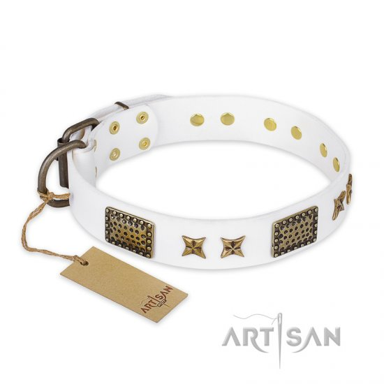 """Hour of Triumph"" FDT Artisan White Leather German Shepherd Collar"