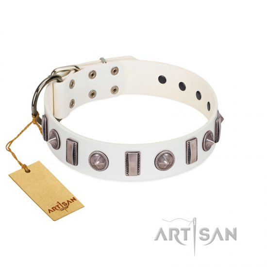 """Icy Spike"" Designer FDT Artisan White Leather German Shepherd Collar with Silver-Like Decorations"