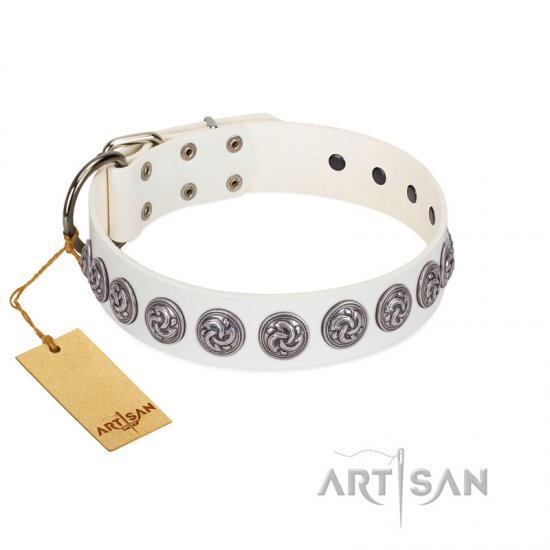 """Bohemian Spirit"" Handmade FDT Artisan White Leather German Shepherd Collar with Vintage Decorations"