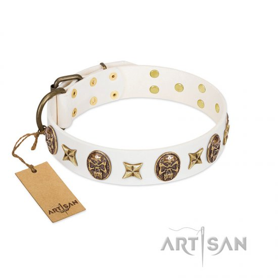 """Fads and Fancies"" FDT Artisan White Leather German Shepherd Collar with Stars and Skulls"