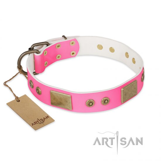 """Pink World"" FDT Artisan Pink Leather German Shepherd Collar with Old Bronze Look Plates and Studs"
