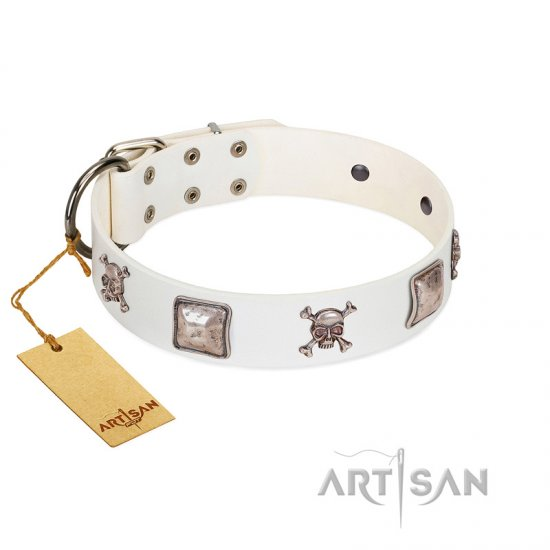 """Pirate Sloop"" Handmade FDT Artisan Designer White Leather German Shepherd Collar with Crossbones"