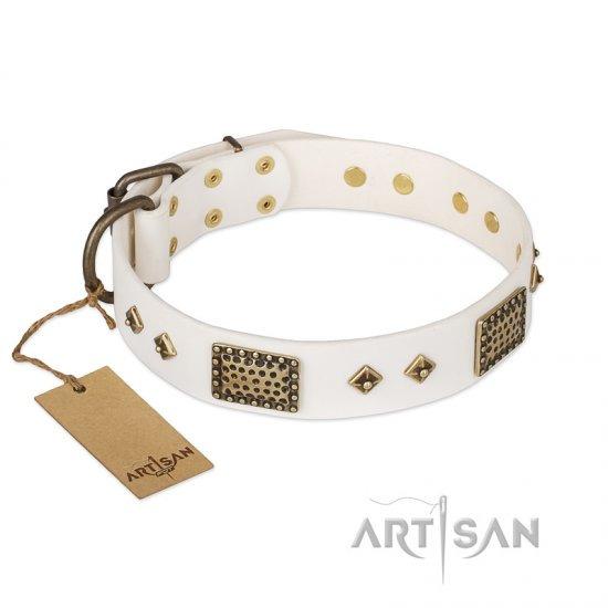 """Snow-covered Gold"" FDT Artisan White Leather German Shepherd Collar"