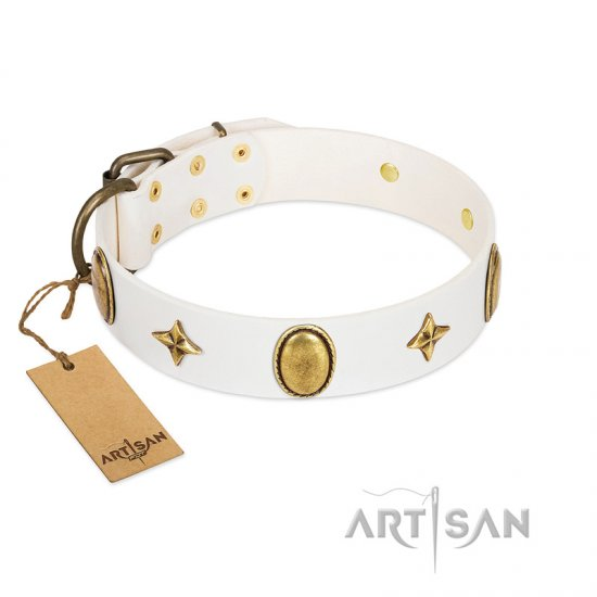 """Hollywood Star"" FDT Artisan White Leather German Shepherd Collar with Ovals and Stars - 1 1/2 inch Wide"