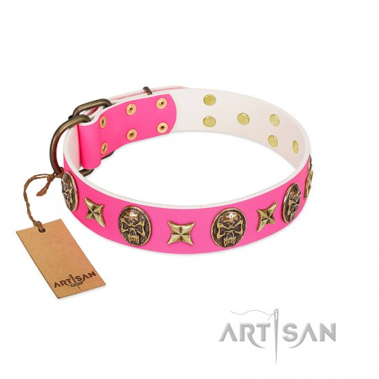 """Fashion Ecstasy"" FDT Artisan Pink Leather German Shepherd Collar with Bronze-like Plated Stars and Skulls"