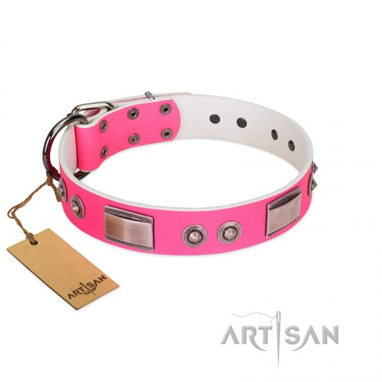 """Lady's Whim"" FDT Artisan Pink Leather German Shepherd Collar with Plates and Spiked Studs"