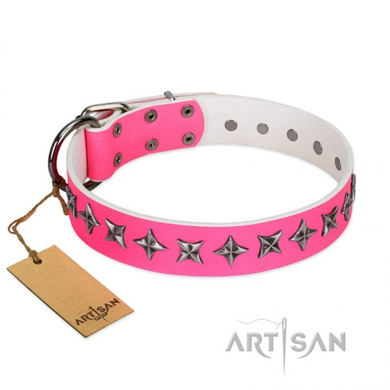 """Star Dreams"" FDT Artisan Pink Leather German Shepherd Collar with Silver-like Stars - Click Image to Close"